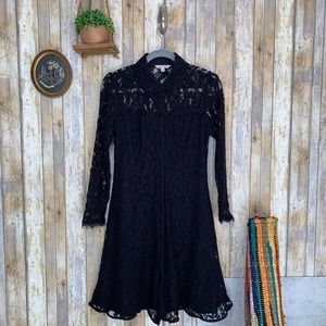 Nanette Lepore Black Lace Button Front Dress